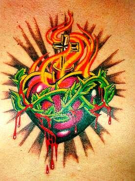 tattoo art sacred heart tribal tattoos design. Black Bedroom Furniture Sets. Home Design Ideas